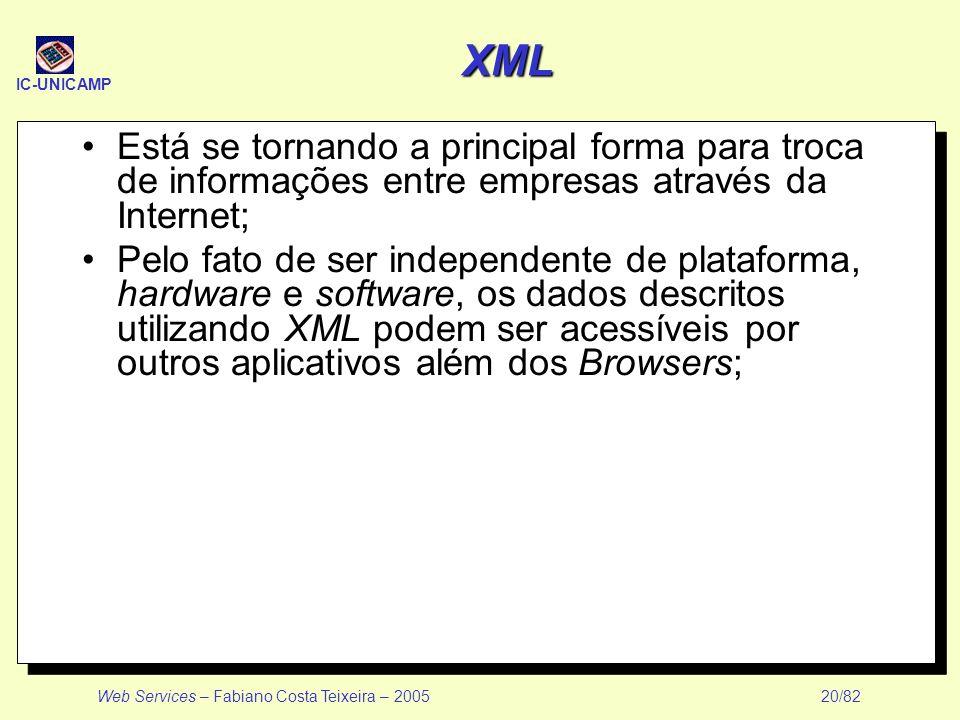 XML Está se tornando a principal forma para troca de informações entre empresas através da Internet;