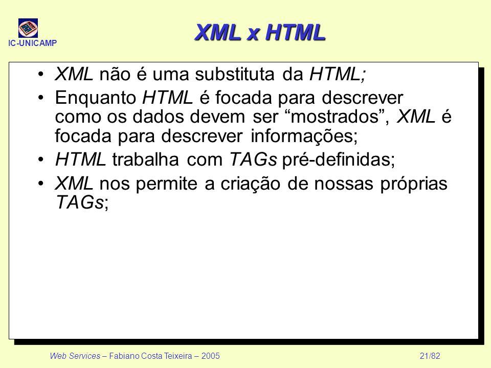 XML x HTML XML não é uma substituta da HTML;
