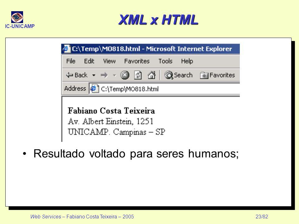 XML x HTML Resultado voltado para seres humanos;