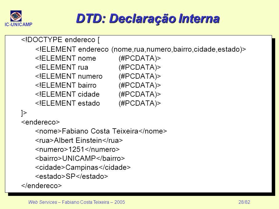 DTD: Declaração Interna