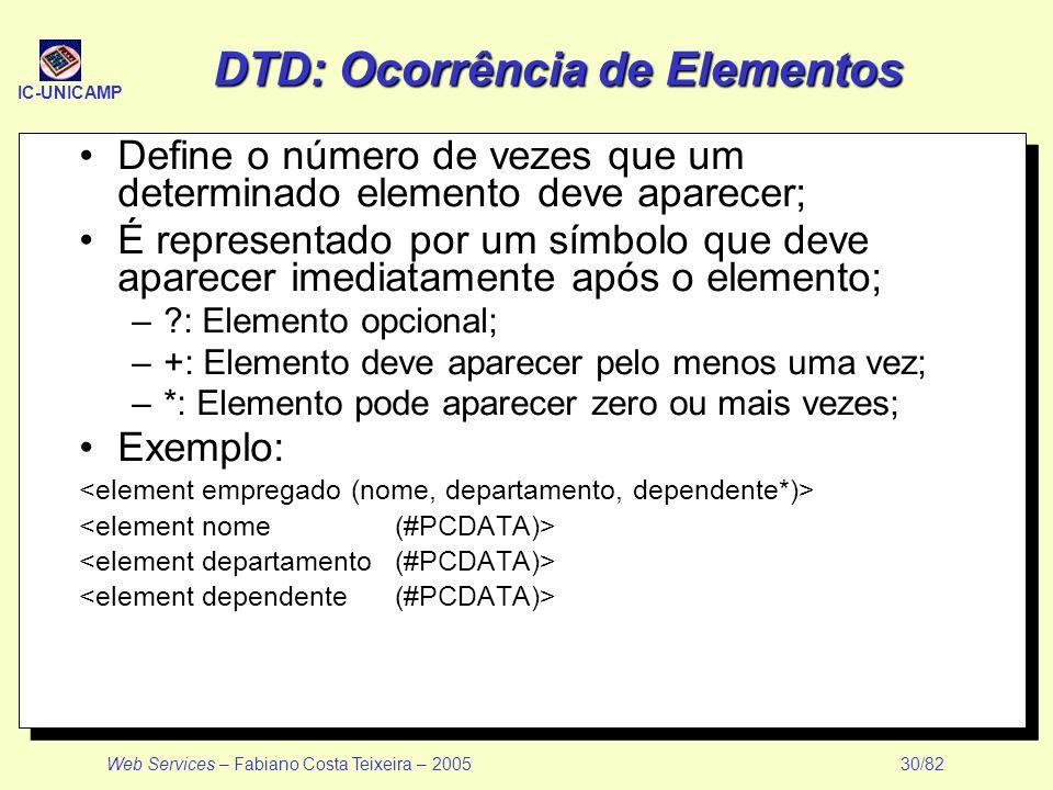 DTD: Ocorrência de Elementos