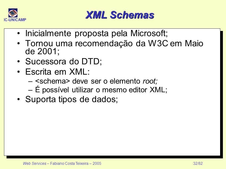 XML Schemas Inicialmente proposta pela Microsoft;