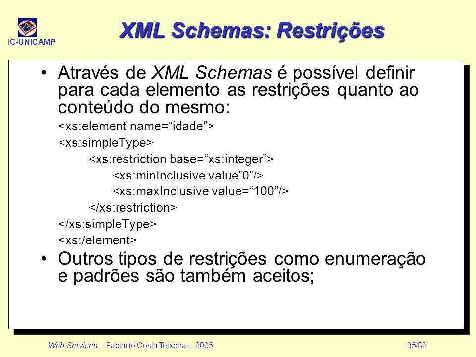XML Schemas: Restrições