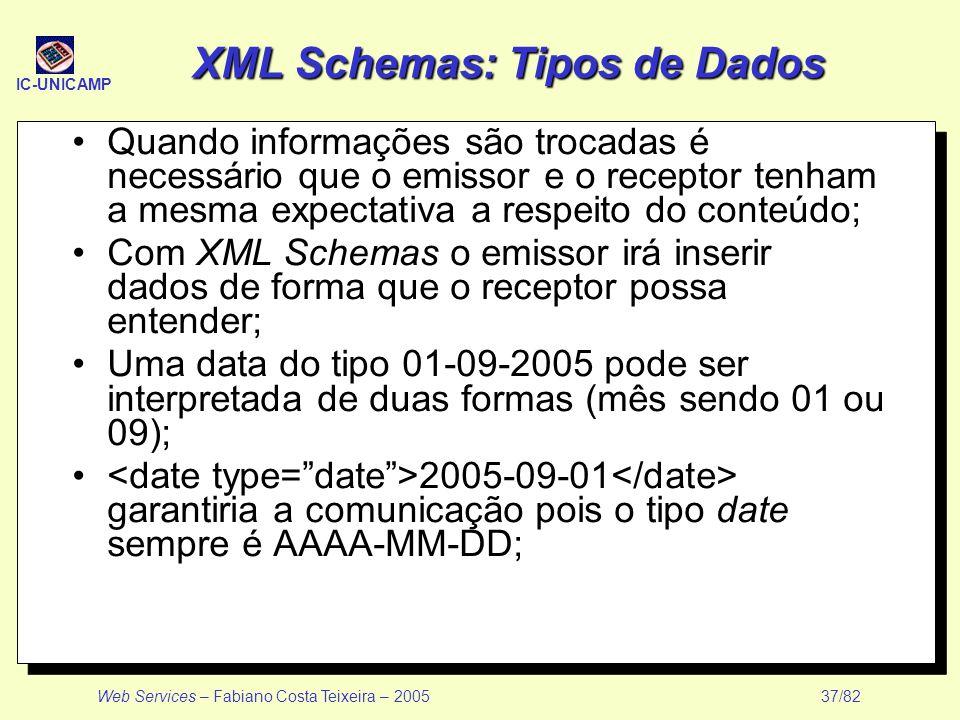 XML Schemas: Tipos de Dados