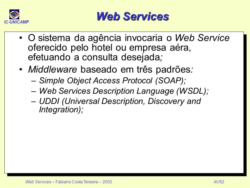 Web Services O sistema da agência invocaria o Web Service oferecido pelo hotel ou empresa aéra, efetuando a consulta desejada;