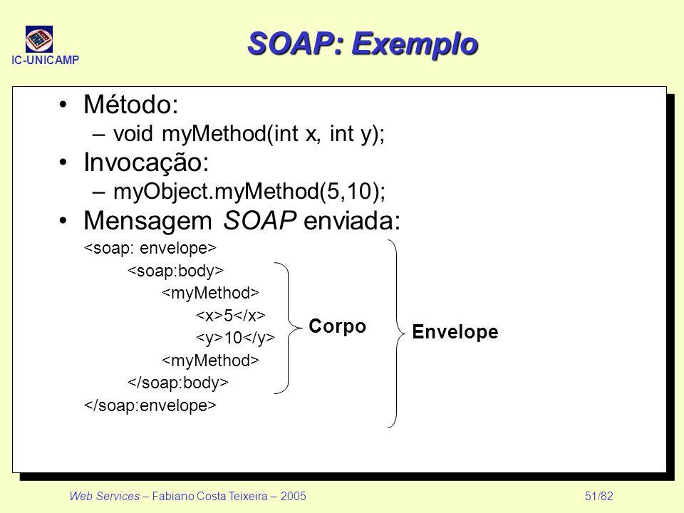 SOAP: Exemplo Método: Invocação: Mensagem SOAP enviada: