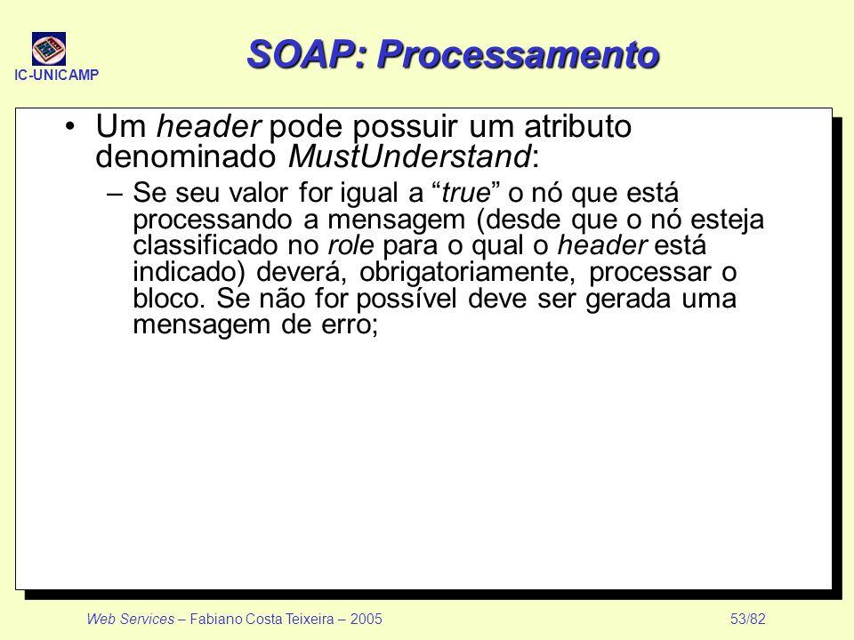 SOAP: Processamento Um header pode possuir um atributo denominado MustUnderstand: