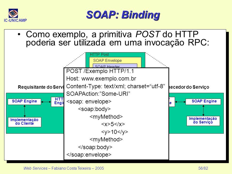 SOAP: Binding Como exemplo, a primitiva POST do HTTP poderia ser utilizada em uma invocação RPC: POST /Exemplo HTTP/1.1.