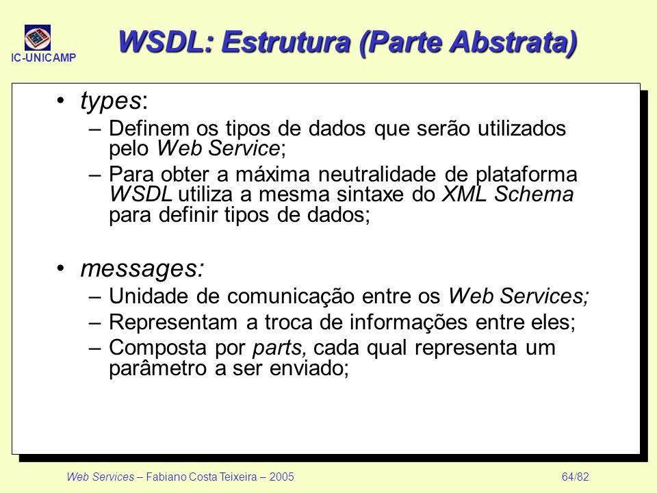 WSDL: Estrutura (Parte Abstrata)