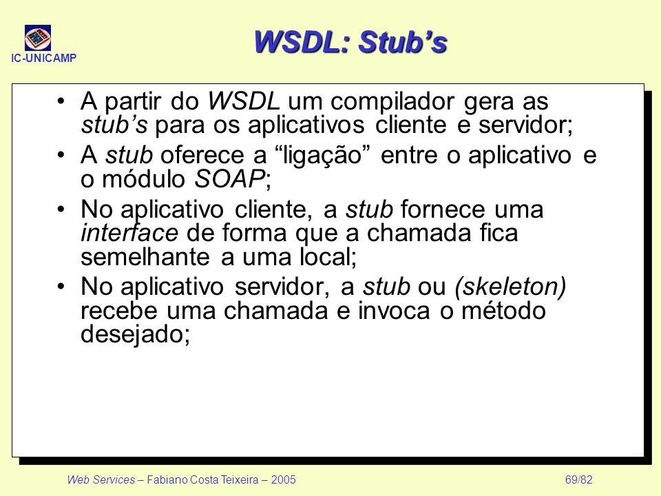 WSDL: Stub's A partir do WSDL um compilador gera as stub's para os aplicativos cliente e servidor;