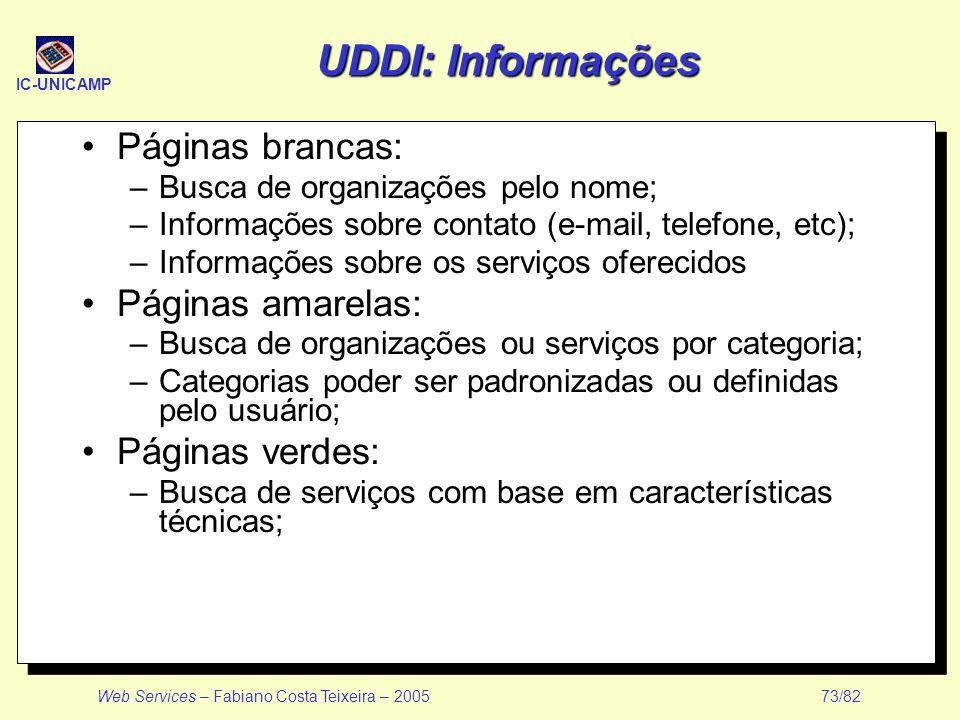 UDDI: Informações Páginas brancas: Páginas amarelas: Páginas verdes: