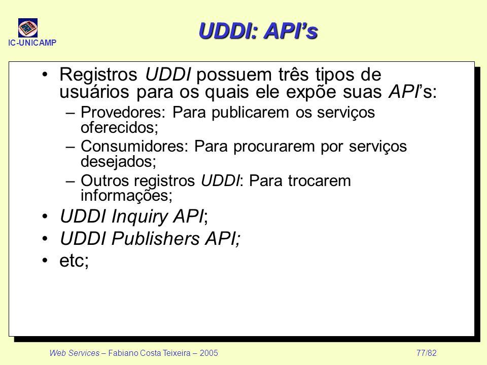 UDDI: API's Registros UDDI possuem três tipos de usuários para os quais ele expõe suas API's: Provedores: Para publicarem os serviços oferecidos;