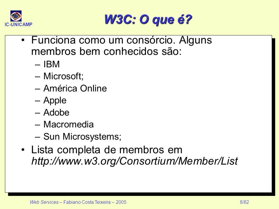 W3C: O que é Funciona como um consórcio. Alguns membros bem conhecidos são: IBM. Microsoft; América Online.