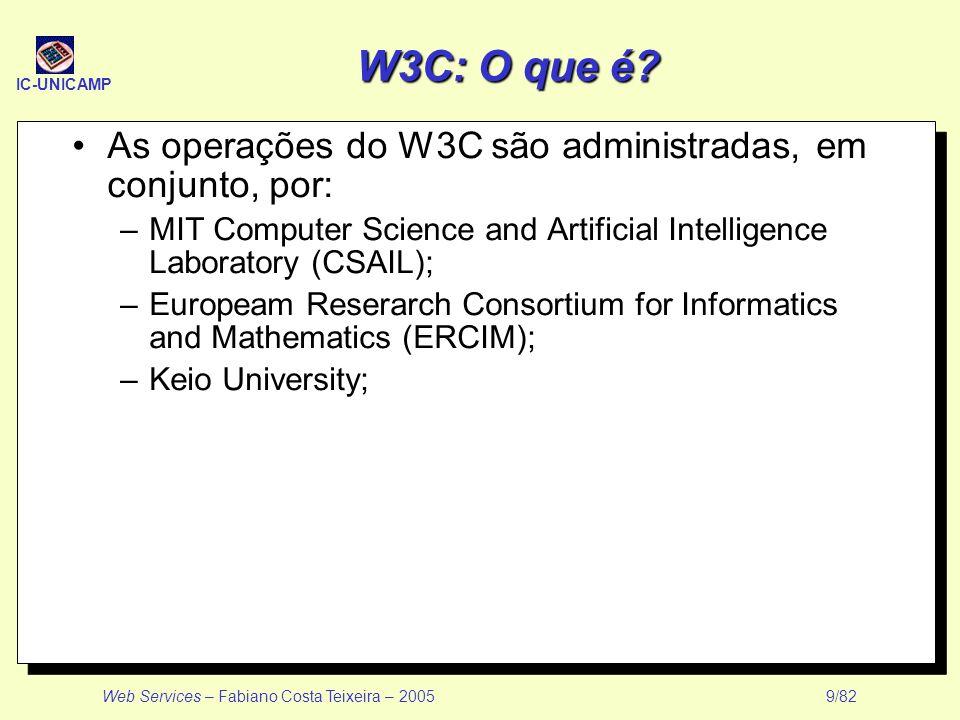 W3C: O que é As operações do W3C são administradas, em conjunto, por: