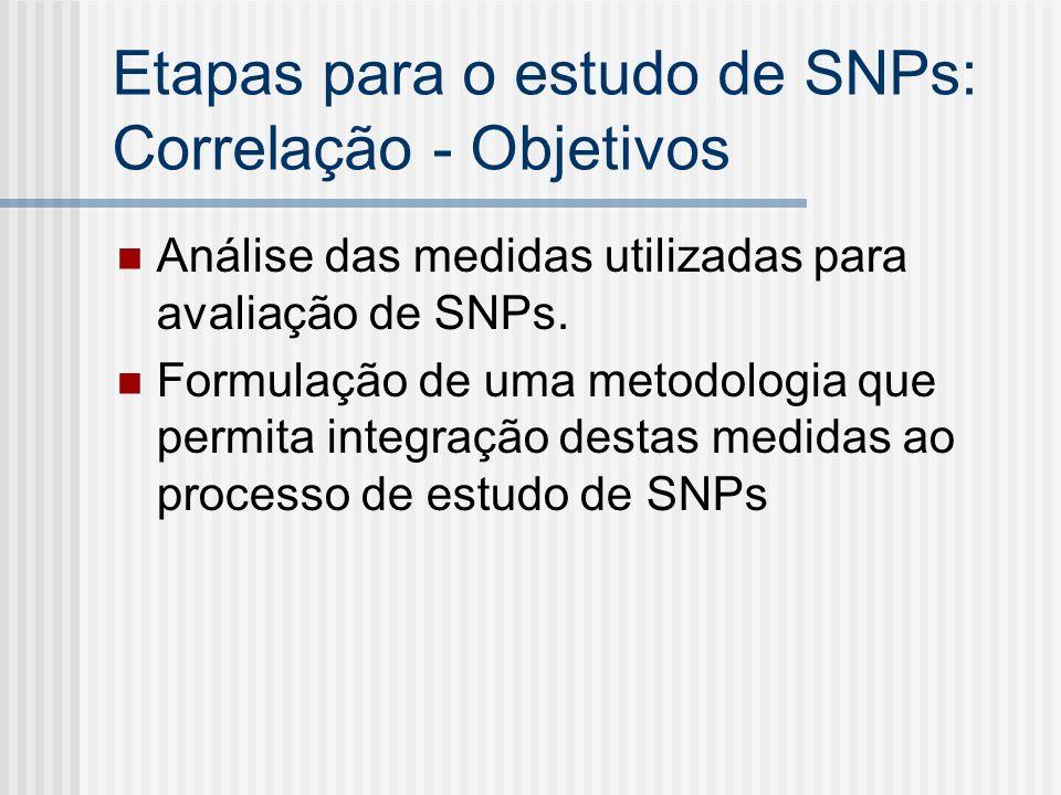 Etapas para o estudo de SNPs: Correlação - Objetivos