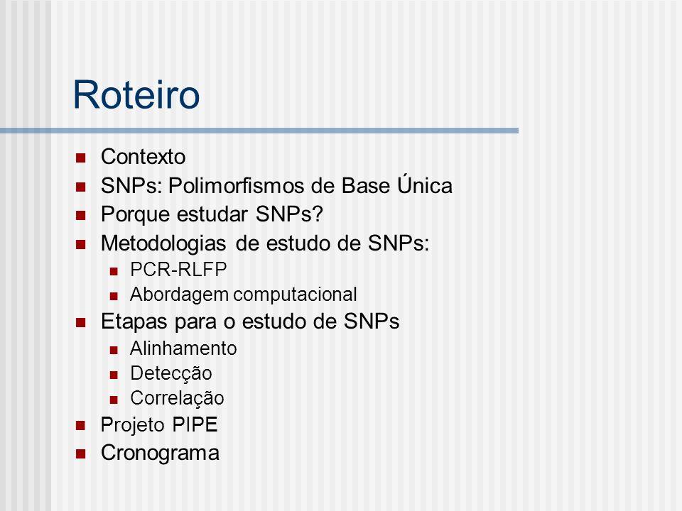 Roteiro Contexto SNPs: Polimorfismos de Base Única