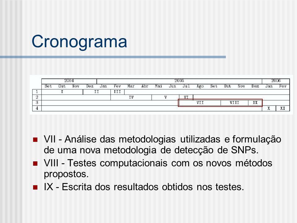 Cronograma VII - Análise das metodologias utilizadas e formulação de uma nova metodologia de detecção de SNPs.