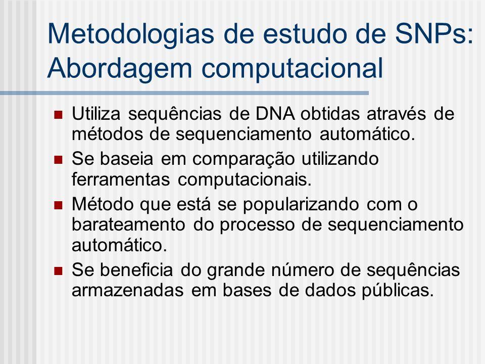 Metodologias de estudo de SNPs: Abordagem computacional