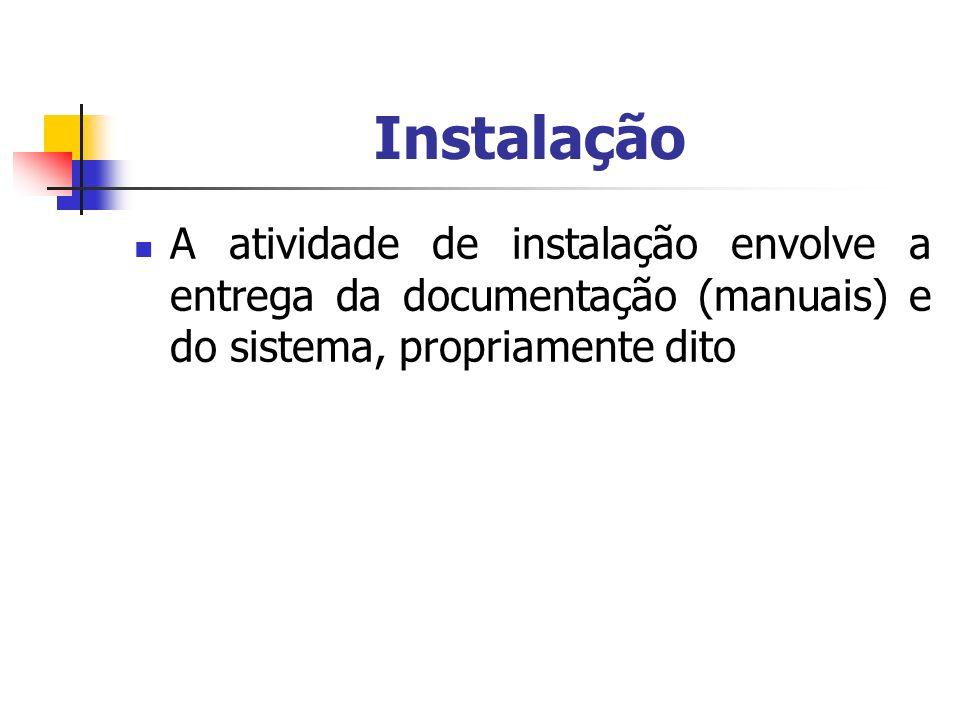 InstalaçãoA atividade de instalação envolve a entrega da documentação (manuais) e do sistema, propriamente dito.