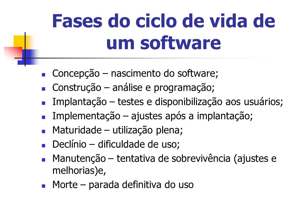 Fases do ciclo de vida de um software