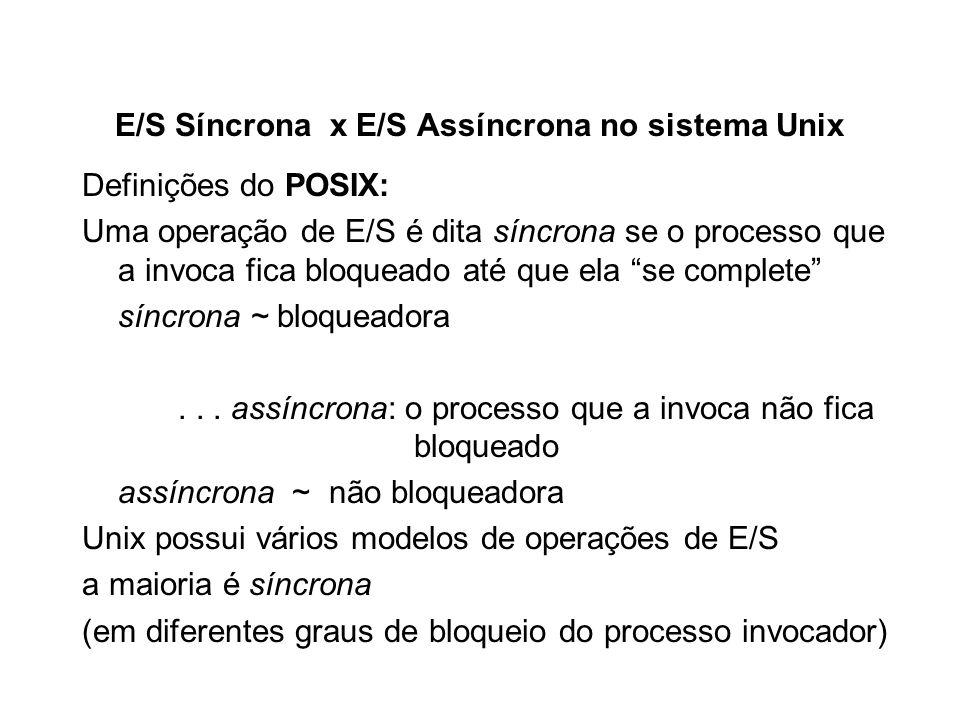E/S Síncrona x E/S Assíncrona no sistema Unix