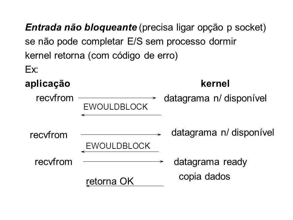 Entrada não bloqueante (precisa ligar opção p socket)