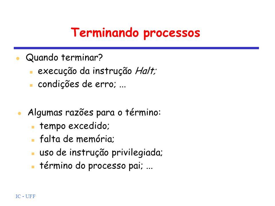 Terminando processos Quando terminar execução da instrução Halt;