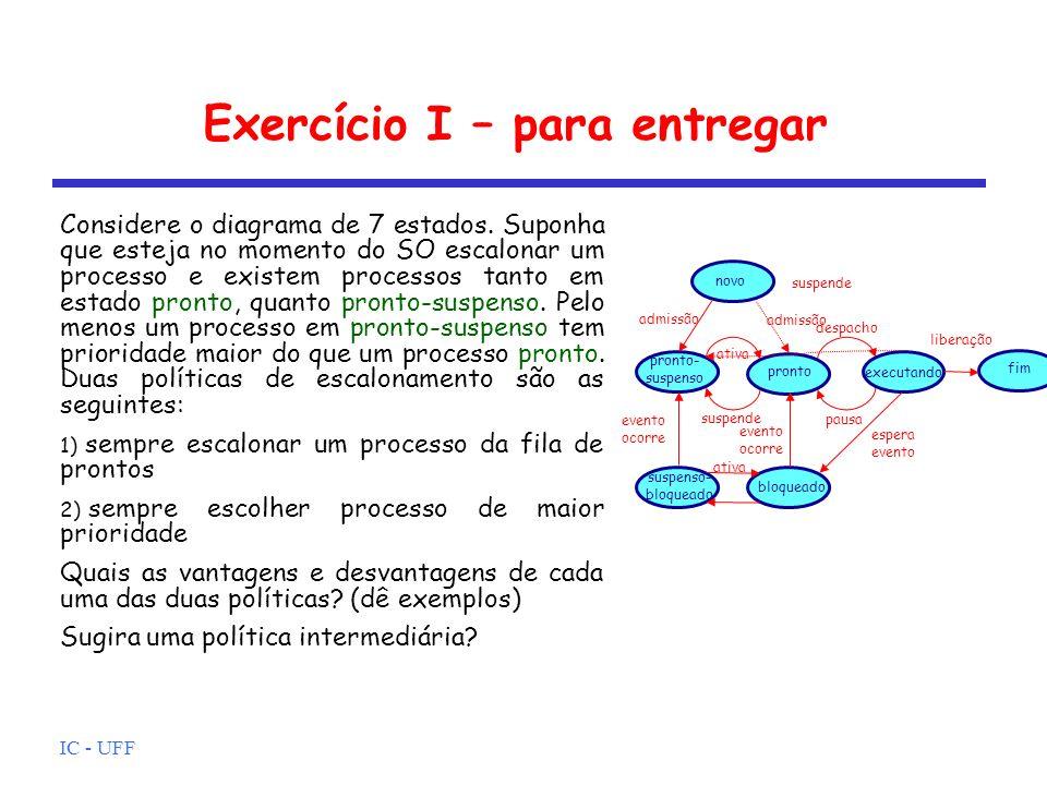 Exercício I – para entregar