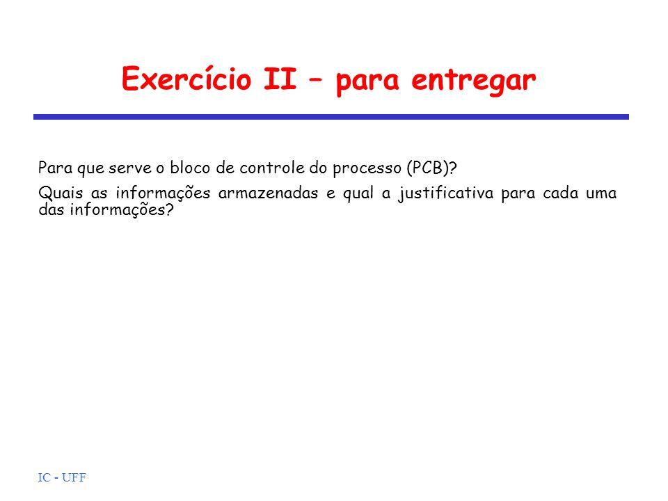 Exercício II – para entregar