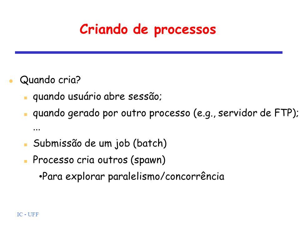 Criando de processos Quando cria quando usuário abre sessão;