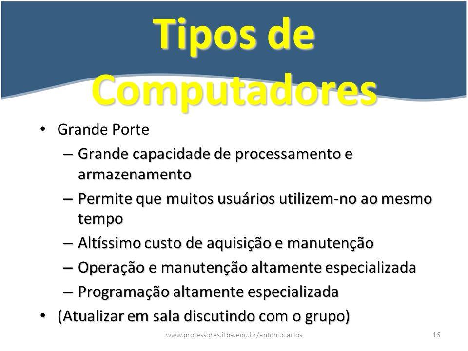 Tipos de Computadores Grande Porte