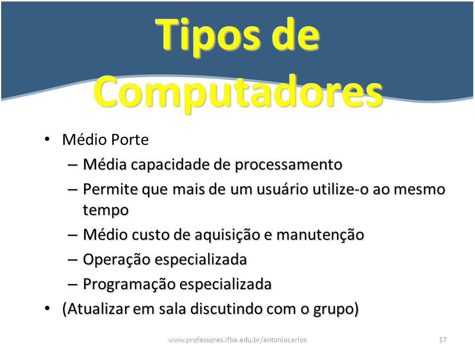 Tipos de Computadores Médio Porte Média capacidade de processamento