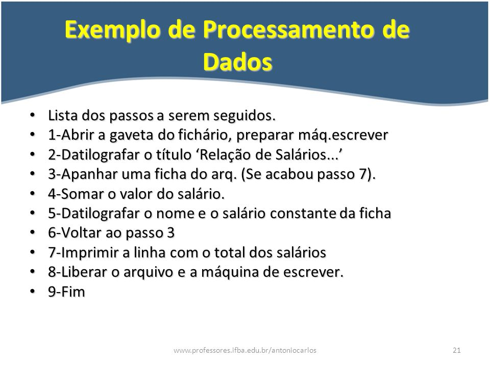 Exemplo de Processamento de Dados