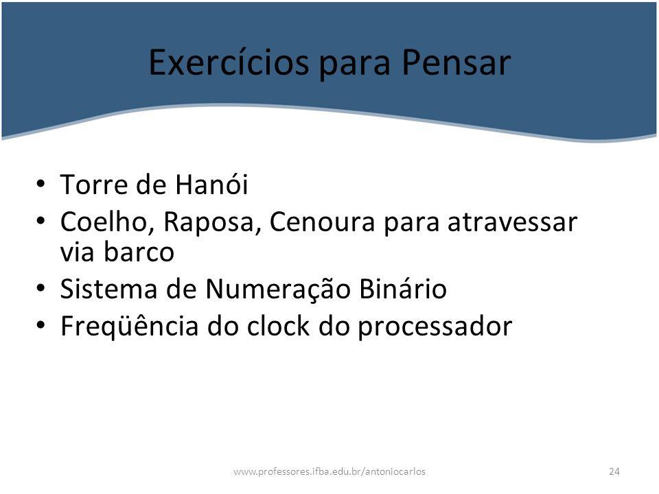Exercícios para Pensar