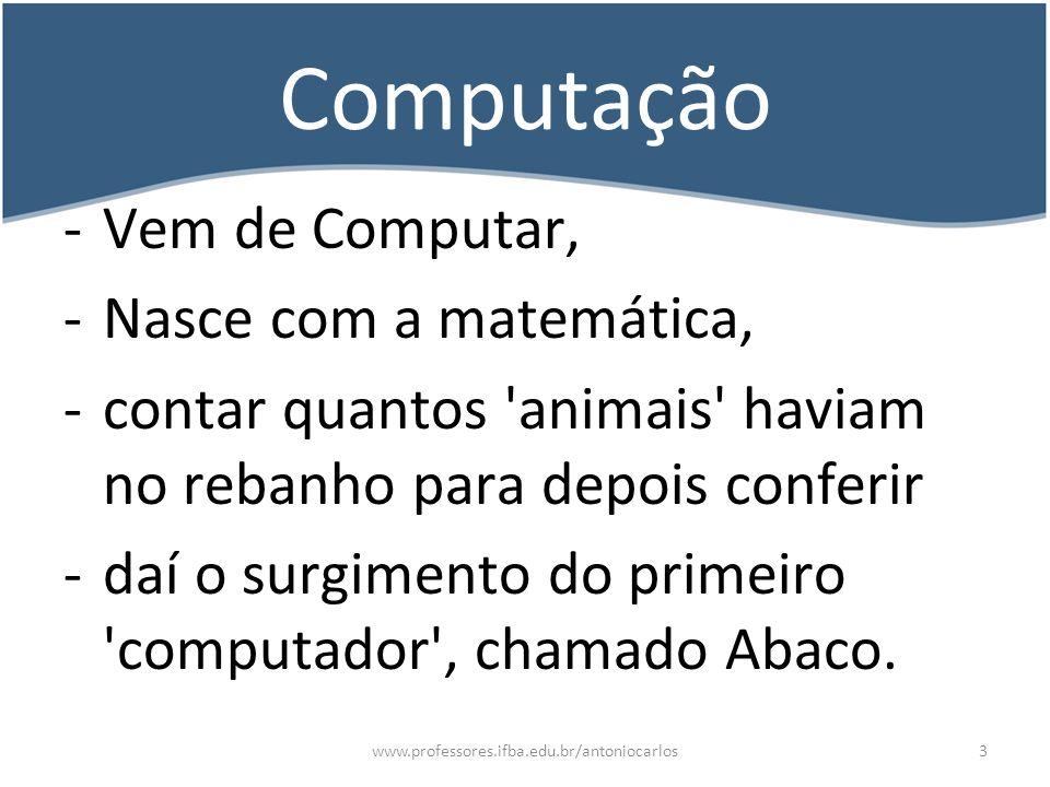 Computação Vem de Computar, Nasce com a matemática,