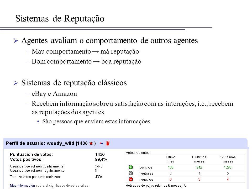 Sistemas de Reputação Agentes avaliam o comportamento de outros agentes. Mau comportamento → má reputação.