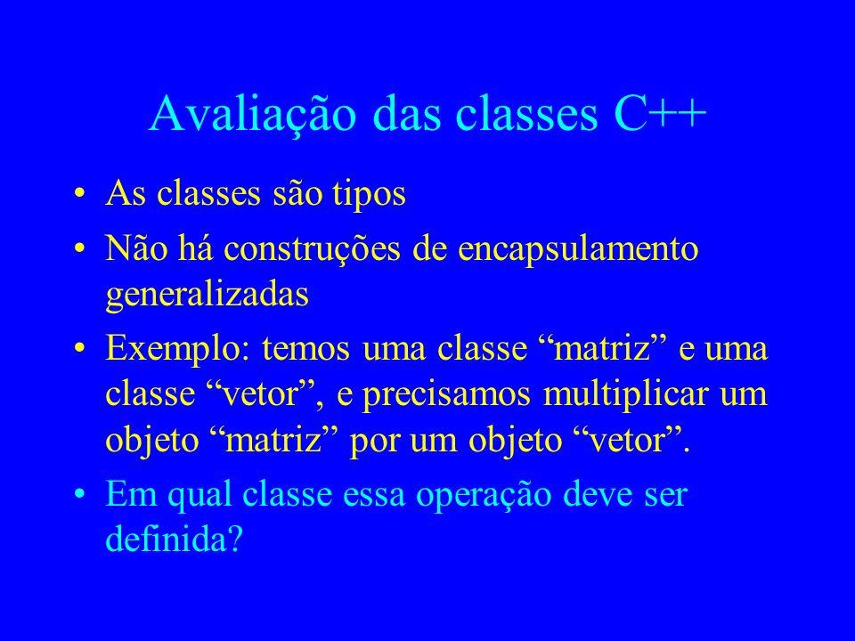Avaliação das classes C++