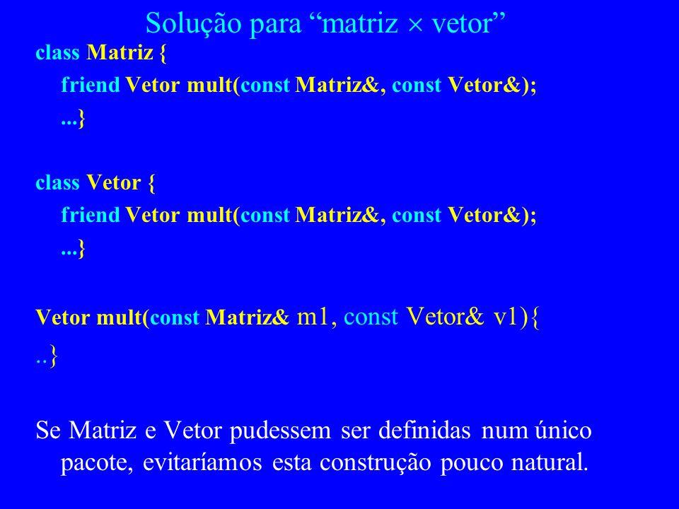 Solução para matriz  vetor