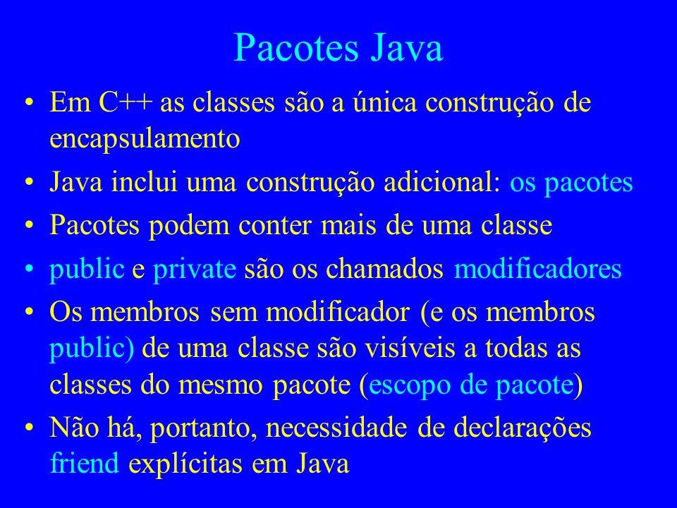 Pacotes Java Em C++ as classes são a única construção de encapsulamento. Java inclui uma construção adicional: os pacotes.
