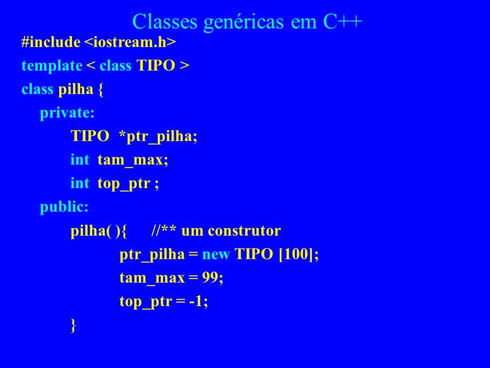 Classes genéricas em C++