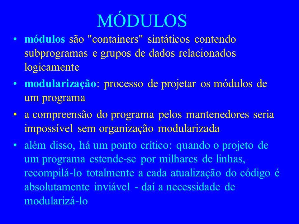 MÓDULOS módulos são containers sintáticos contendo subprogramas e grupos de dados relacionados logicamente.