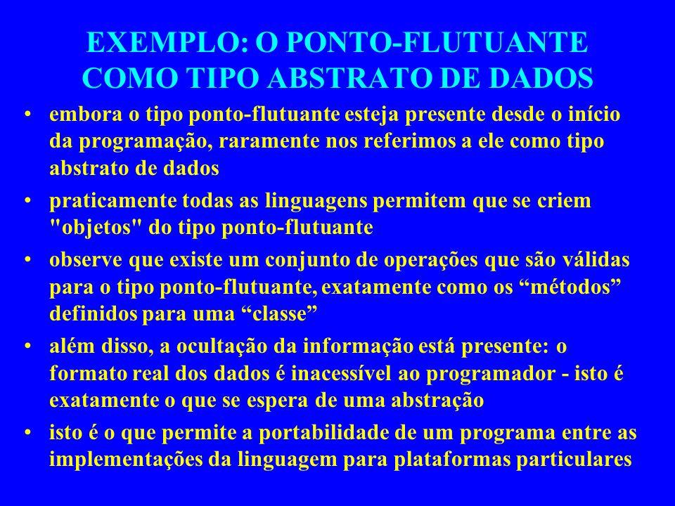 EXEMPLO: O PONTO-FLUTUANTE COMO TIPO ABSTRATO DE DADOS