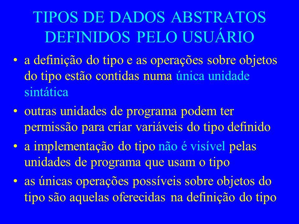 TIPOS DE DADOS ABSTRATOS DEFINIDOS PELO USUÁRIO