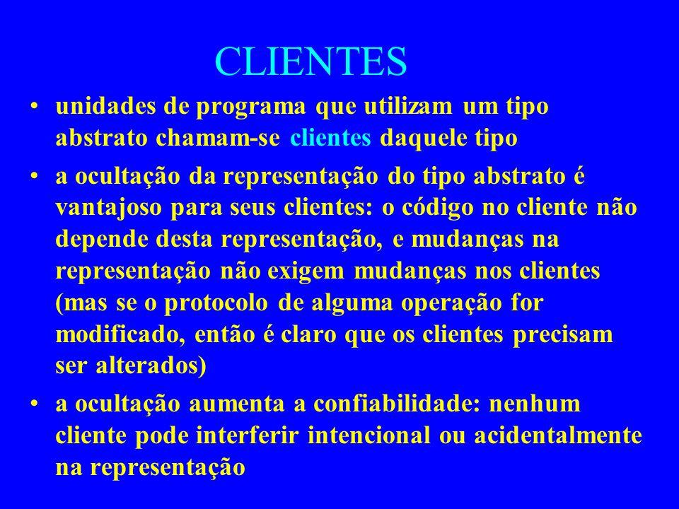 CLIENTES unidades de programa que utilizam um tipo abstrato chamam-se clientes daquele tipo.