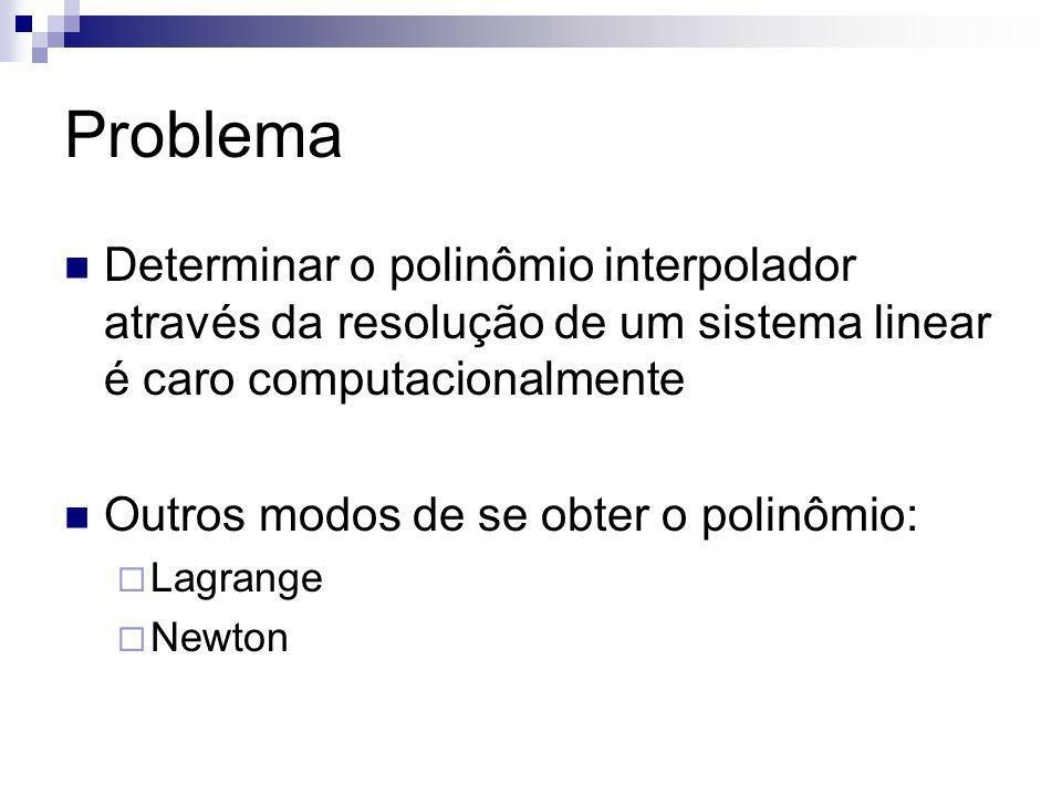 Problema Determinar o polinômio interpolador através da resolução de um sistema linear é caro computacionalmente.