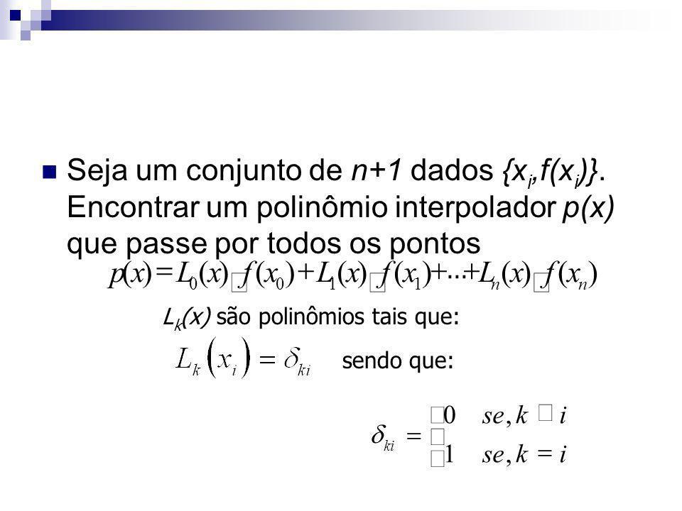 Seja um conjunto de n+1 dados {xi,f(xi)}