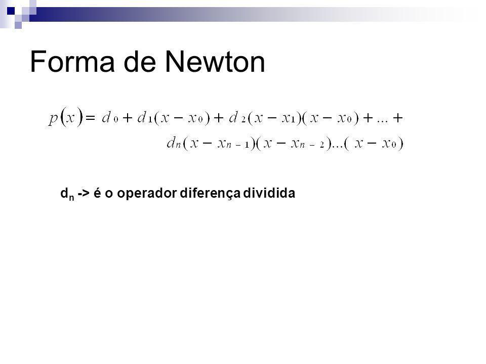 Forma de Newton dn -> é o operador diferença dividida