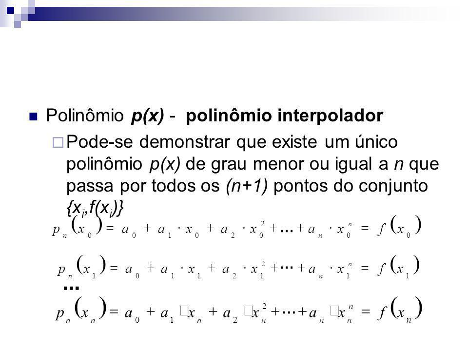 ( ) Polinômio p(x) - polinômio interpolador