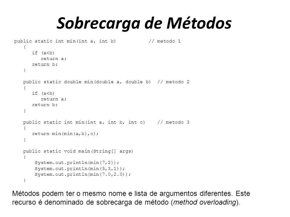 Sobrecarga de Métodos public static int min(int a, int b) // metodo 1. { if (a<b) return a;