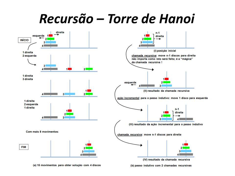 Recursão – Torre de Hanoi